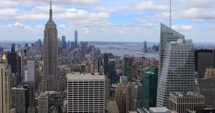 вид с воздуха 4K UltraHD центра города района Нью Йорка сток-видео