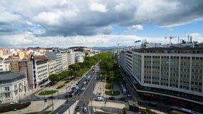 Вид с воздуха liberdade Лиссабона avenida, Португалии Май 2016 Стоковые Изображения RF