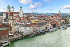 Вид с воздуха Passau, Германии стоковое изображение