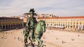 Вид с воздуха Praca Commercio Лиссабона на вечере стоковое изображение