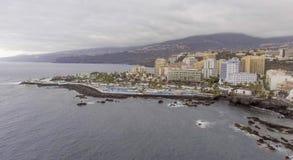 Вид с воздуха Puerto de Ла Cruz, Тенерифе Стоковое Изображение RF