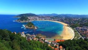 Вид с воздуха San Sebastian, Испании видеоматериал