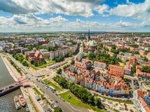 Вид с воздуха Szczecin - бульвар Chrobrego Ландшафт Szczecin с рекой Odra и горизонтом Стоковая Фотография