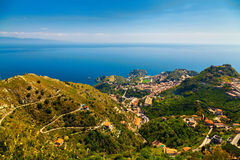 Вид с воздуха Taormina Стоковые Изображения