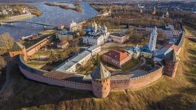 Вид с воздуха Velikiy Новгорода Кремля Стоковые Изображения RF