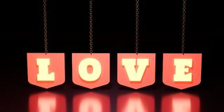 Вид слова влюбленности на экранах Стоковые Фотографии RF