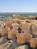 Вид с птичьего полета города Jaisalmer от золотого форта Jaisalmer, Стоковая Фотография