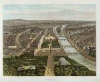 Вид с птичьего полета Франции, Парижа города 1870 Стоковые Фото