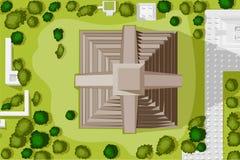 Вид с птичьего полета Chichen Itza иллюстрация вектора