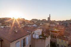 Виды на город утра Сиены панорамные Стоковая Фотография