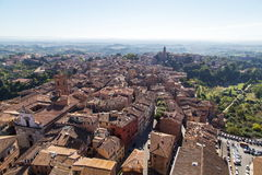 Виды на город утра Сиены панорамные Стоковые Изображения RF
