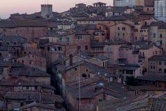Виды на город утра Сиены панорамные стоковые фотографии rf
