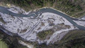 Виды с воздуха реки melt снега весны Стоковые Изображения RF