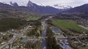 Виды с воздуха реки melt снега весны Стоковые Фотографии RF