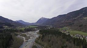Виды с воздуха реки melt снега весны Стоковые Фото