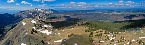 Виды с воздуха реки melt снега весны Стоковое Изображение RF