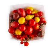 Виды томата желтого гороха, вишни и сливы изолированного на белизне Стоковое Изображение RF