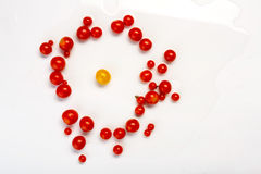 Виды томата желтого гороха, вишни и сливы изолированного на белизне Стоковые Фотографии RF