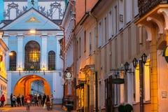 Вильнюс Литва Строб рассвета, старый религиозный исторический памятник Стоковое фото RF