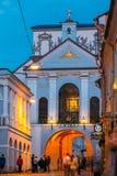 Вильнюс Литва Строб рассвета, старый религиозный исторический памятник Стоковое Фото