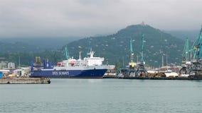 Вкладыш груза в морском порте сток-видео