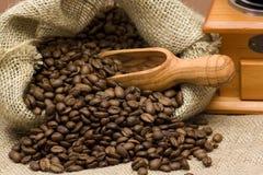 вкладыш кофе мешковины фасолей Стоковое фото RF