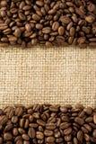 вкладыш кофе мешковины фасолей Стоковые Изображения RF