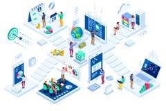 Вклады и маркетинг виртуальных финансов современный иллюстрация штока