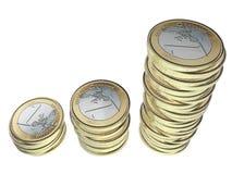 Вклад денег чеканит евро штабелированные деньги сбережения Стоковые Фото
