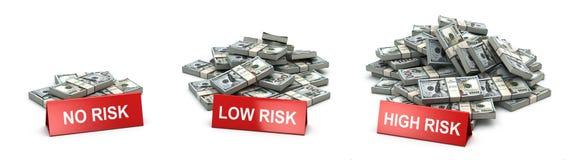 Вклад и уровень концепции риска Кучи пакетов долларов Стоковое Изображение