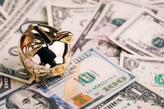 Вклад роста успеха, финансовая предпосылка или сберегательный вклад на год концепции свиньи, сияющая золотая копилка или монетка стоковая фотография