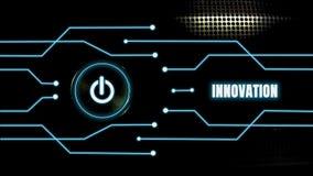 Включеный-выключеная кнопка накаляет на черной предпосылке металла и линиях с концепцией нововведения, развитии голубого свечения стоковые изображения rf