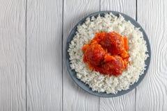 Вкусная горячая фрикаделька индюка с рисом Стоковые Фотографии RF