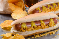 Вкусная еда для футбольных болельщиков Стоковые Изображения RF