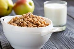 Вкусная овсяная каша с яблоками и молоком Стоковое Изображение RF
