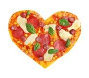 Вкусная пицца в форме сердца, изолированной на белизне стоковое изображение rf