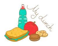 Вкусная свежая еда обеда Бутылка, сандвич, печенья и яблоко иллюстрация штока