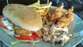 вкусное еды из закусочных цыпленка бургера горячее Стоковые Фото