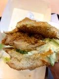 вкусное еды из закусочных цыпленка бургера горячее Стоковое Изображение RF