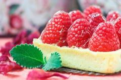 Вкусное пирожное при поленики украшенные с лист мяты на розовой предпосылке Стоковые Изображения RF