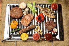 Вкусное различное мясо на гриле Стоковое Фото