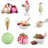 Вкусное собрание мороженого изолированное на белизне Стоковое Фото