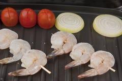 вкусной свежей шримс слезли решеткой, котор Стоковая Фотография RF