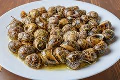 Вкусные зажаренные улитки в белом блюде на коричневой деревянной предпосылке Стоковая Фотография RF