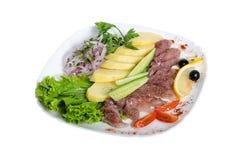 Вкусные закуски, посоленные сельди Блюдо посоленная сельдь с кипеть картошками Стоковая Фотография