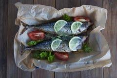 Вкусные испеченные все рыбы моря на бумаге выпечки Испеченный лещ моря с лимоном, травами, томатами, специями на предпосылке wood Стоковая Фотография