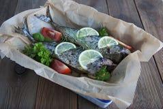 Вкусные испеченные все рыбы моря на бумаге выпечки Испеченный лещ моря с лимоном, травами, томатами, специями на предпосылке wood стоковые фотографии rf