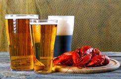 Вкусные кипеть ракы и пиво на таблице Стоковые Фотографии RF