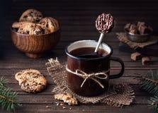 Вкусные ложка донута и печенья шоколада Стоковое Изображение RF