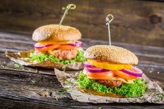 Вкусные домодельные 2 гамбургера Стоковое Изображение